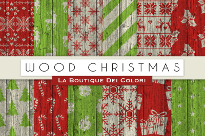 Wood Christmas Digital Papers