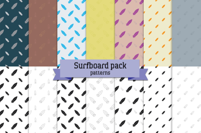 Surfboard pack - 14 seamless patterns