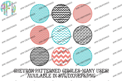 Chevron Pattern Circles with Border - SVG, DXF, EPS Digital Cut Files