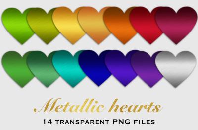 Brushed metal hearts