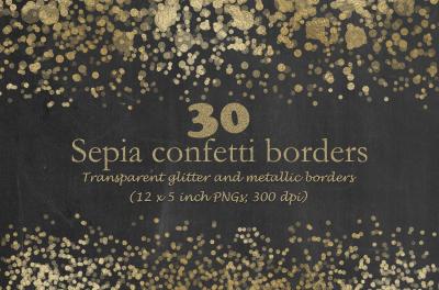 Sepia confetti borders