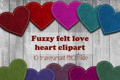 Felt heart clipart