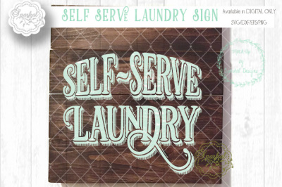 Self Serve Laundry Sign in SVG/DXF/EPS/PNG