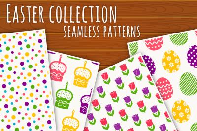 Easter seamless patterns set