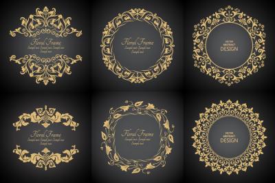 Vector decorative monogram frames