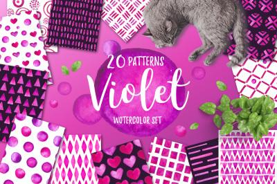 Violet. Watercolor patterns