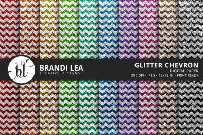 Glitter Chevron Digital Paper
