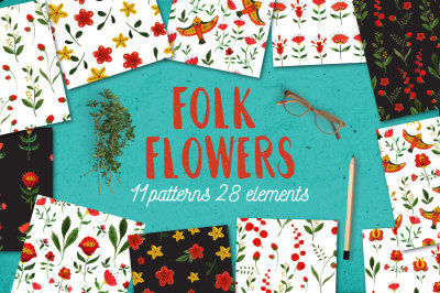 Folk Flowers patterns