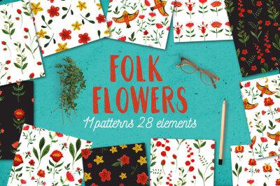 Folk Flowers patterns