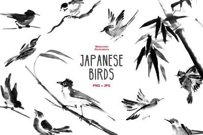 Japanese symi-e ink birds