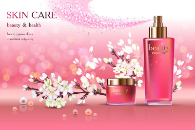 Cosmetic ads with cherry blossom