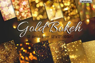 Gold bokeh digital papers