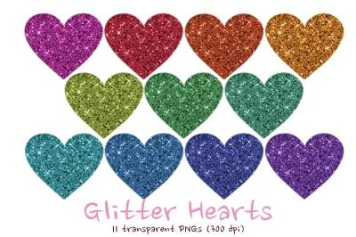 Glitter hearts clipart