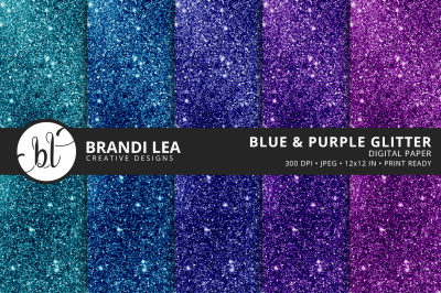 Blue & Purple Glitter Digital Paper