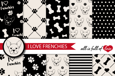 French Bulldog Digital Paper Frenchie background patterns to print Dog digital scrapbook
