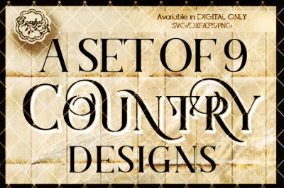 Set of 9 Unique COUNTRY Themed Sign Stencils for the popular cutting machines.