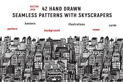 Hand drawn big city with skyscrapers patterns