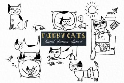 Funny cats. Handwritten clipart.