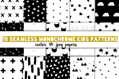 Modern kids patterns,black and white digital paper