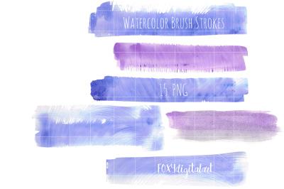 Watercolor Brush Strokes Digital Clipart