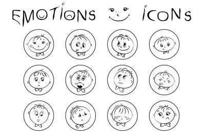 Boy faces, emotions icons
