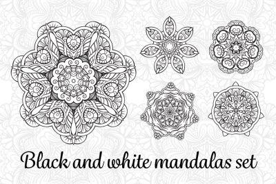 Black and white mandalas set