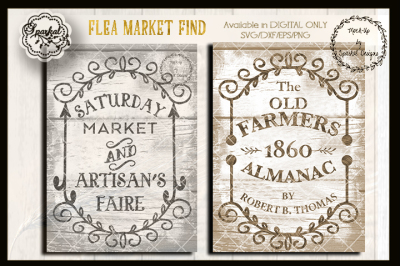 Flea Market Artisan's Reproduction Sign Stencils in SVG/DXF/EPS/PNG
