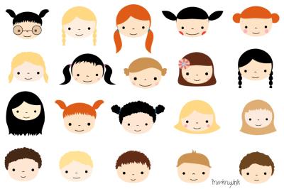 Cute kid faces clipart set, Kawaii children faces clip art, Cute kids avatars
