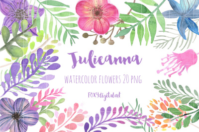 Watercolor Flowers Hand Painted Clipart