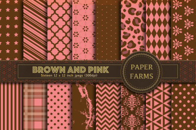 Pink and Brown digital paper