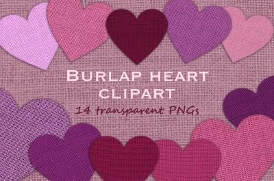 Burlap hearts clipart