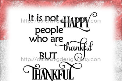 Text cutting file Thankful, in Jpg Png SVG EPS DXF, for Cricut & Silhouette, text, quote, happy people, vector, diy, samantha font