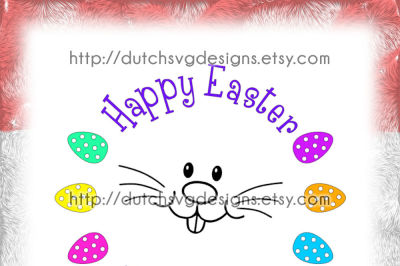 Happy Easter cutting file, in Jpg Png SVG EPS DXF, for Cricut & Silhouette, easterbunny eggs decoration clipart vector diy scanncut