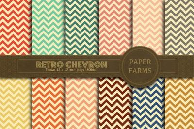 Retro chevron digital paper