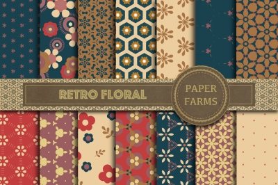 Retro floral digital paper