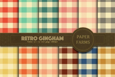 Retro gingham digital paper