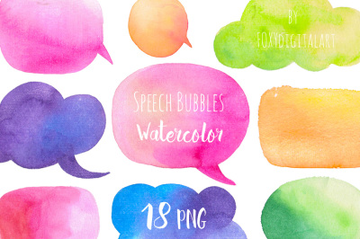Watercolor Clip Art Speech Bubbles