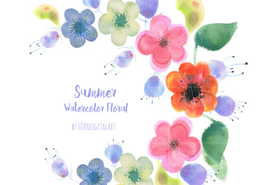 Watercolor Flowers Wreath Clipart