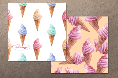 Ice cream. Watercolor patterns. Set of 4