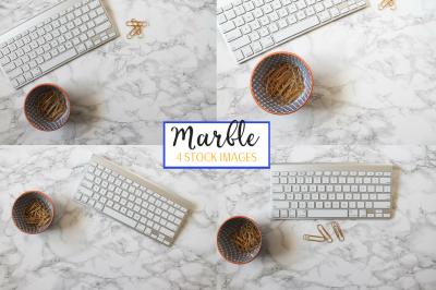 Marble Background + iMac Keyboard | 4 Stock Image Bundle