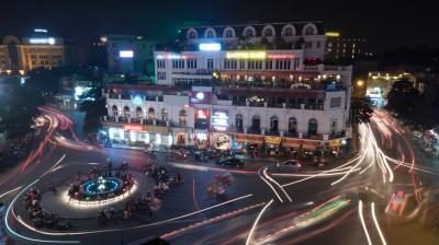 Night motion shot of city traffic in night Hanoi, Vietnam