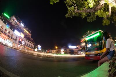 Night traffic on Hanoi road at night, motion view