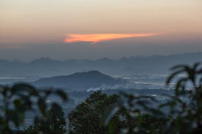 Foggy evening landscape of Vietnam