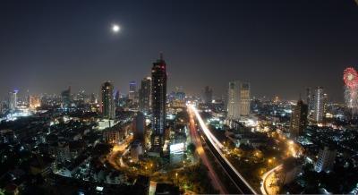 City panorama of Bangkok at night, Thailand