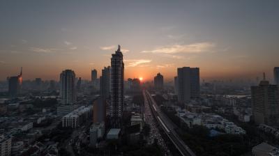 Bangkok cityscape at sunset, Thailand