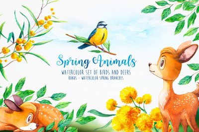 Spring Animals. Watercolor.