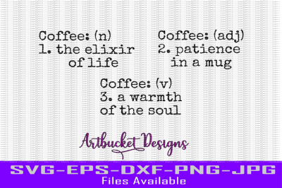 Coffee Definitions Set of 3