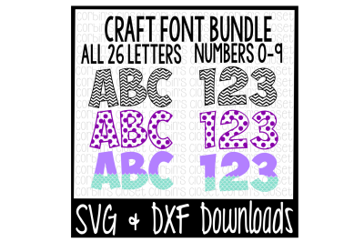 SVG Font Bundle * Polka Dot * Mermaid * Chevron Cut File