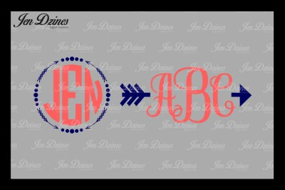 Arrow Dot Monogram Frame SVG  DXF EPS PNG