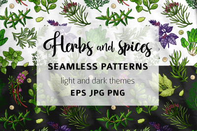 Green pattern with herbs and spices